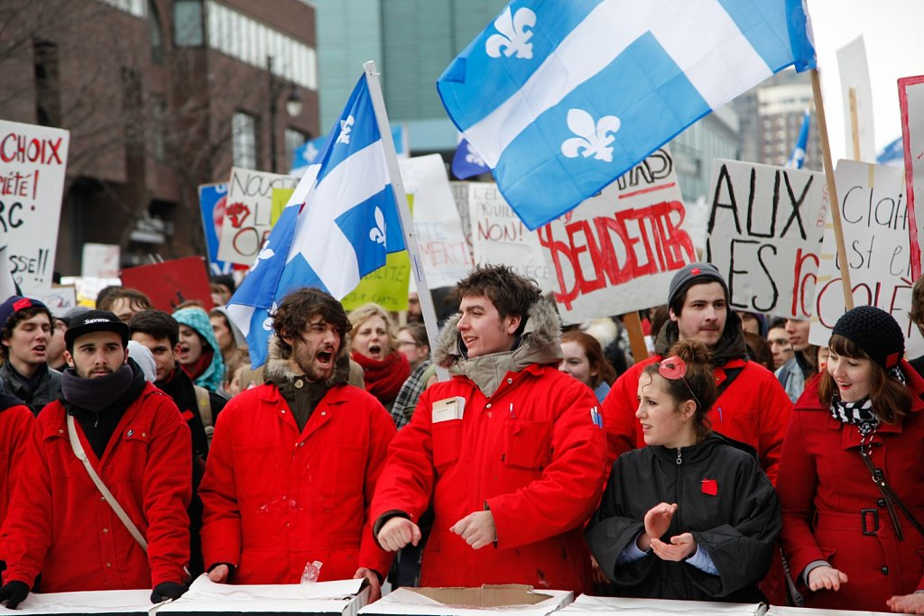 Students protest in Montreal
