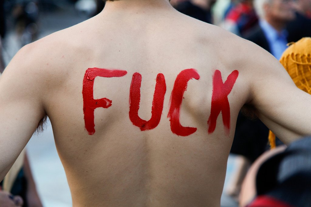 Half naked Montreal protest